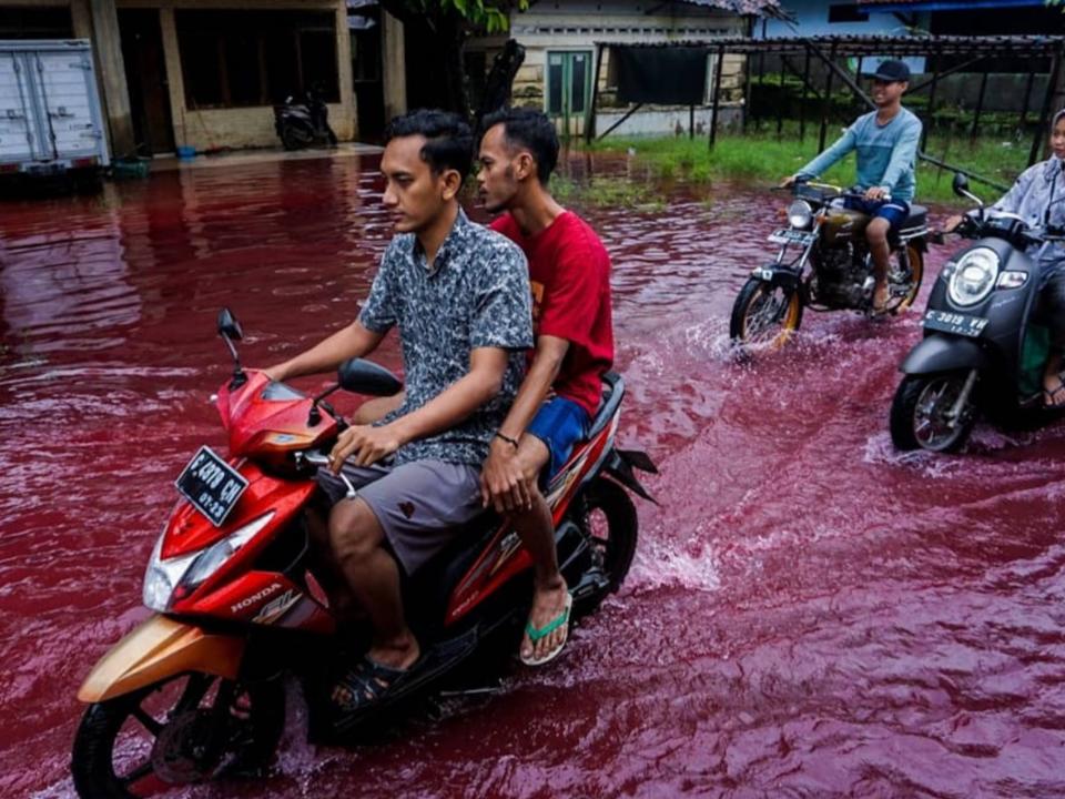 天降紅雨?洪患狂襲印尼村莊 網友瘋傳奇景照